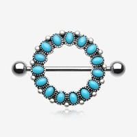 A Pair of Antique Turquoise Circle of Life Nipple Shield Ring
