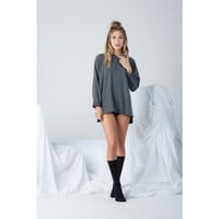 Long Sleeve High Neck Top in Grey