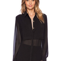 Black Blouse with Sheer Panels