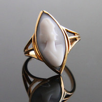 Antique 10K Gold Lady Cameo Ring -  Victorian Edwardian Carved Shell Size 4 Fine Jewelry / Ostby & Barton