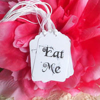 Alice in Wonderland Eat Me Tags for Mad Tea Party Birthday or Bridal Showers Party Favors Black and White Gift Tags Hang Tags  Decor