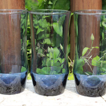 3 vintage Midnight blue Apollo tumblers by Libbey, vintage cobalt blue glasses, blue water/ice tea glasses, retro cobalt blue tumblers