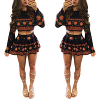 Black Floral Print Crop Top and A-Line Skirts