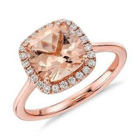 FANCY 8.90CT MORGANITE OCTA CUT 925 STERLING SILVER ENGAGEMENT RING FOR HER