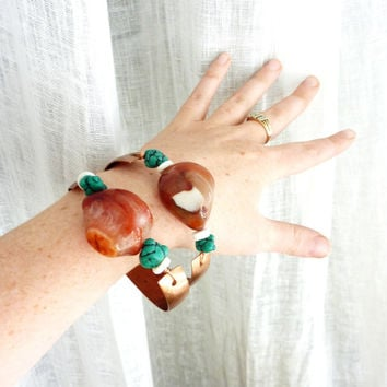 Agate & Turquoise Stone Bangles. Set of Two Copper Bracelets