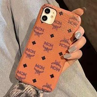 MCM Fashion iPhone Phone Cover Case For iPhone 7 7plus 8 8plus X iPhone XR XS MAX 11 Pro Max 12 mini 12 Pro Max Brown
