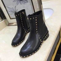 VALENTINO   Trending Men Women Black Leather Side Zip Lace-up Ankle Boots Shoes High Boots