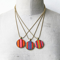 Pendant Necklace Button jewelry Pink Orange and Navy Blue Striped Fabric Recycled Necklace Fabric Jewelry Europeanstreetteam