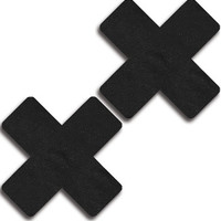 Black Faux Leather Cross Pasties
