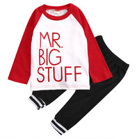 2pcs suit !!  Newborn Toddler Baby Boys Girls Outfits Cotton letter printed Tops +Long Pants Clothes Set