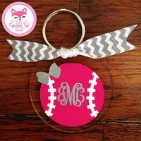 Softball Monogram Key Chain in Chevron Personalized Key Chain Custom Name Sorority Birthday Bride Wedding Shower Bridesmaid Key Chain