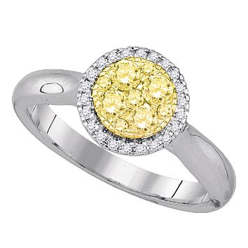 14kt White Gold Women's Canary Yellow Diamond Circle Cluster Ring 1/2 Cttw