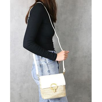 Laura Vegan Leather Mini Straw Crossbody Hand Bag Purse in Ivory