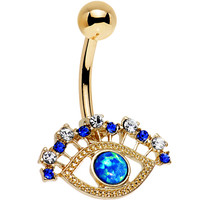 Multicolored Gem Blue Faux Opal Gold Anodized Glamour Eye Belly Ring | Body Candy Body Jewelry