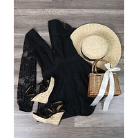 Lace Overlay Romper in Black