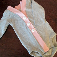 Baby Cardigan Onesuit, Gray and Pink Infant Cardigan, Baby Girl Bodysuit, Child Cardigan, Long Sleeve Cardigan, Baby Shower Gift