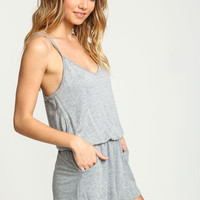 GREY RACERBACK KNIT ROMPER WITH POCKETS