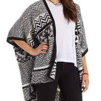 Geometric Print Open Front Poncho Sweater