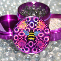 Medium size Purple Hologram Bumble Bee herb grinder 4 piece aluminum with scraper