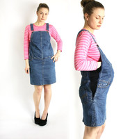Vintage 90's Maternity Blue Denim Overall Dress, Jean Sarafan - Medium