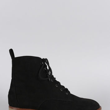 Qupid Suede Lug Sole Round Toe Lace Up Combat Ankle Boots