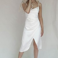 Let Go Champagne Satin Ruched Midi Dress