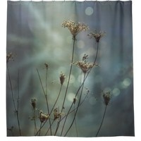 Soft Moody Queen Anne's Lace and Bokeh Light Shower Curtain