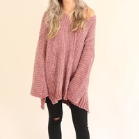 WALK ON OUT CHENILLE SWEATER - ROSE
