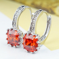 Elegant Office Lady White Gold Plated Hoop Earrings With Red Cubic Zirconia (Color: Red) = 1958047172