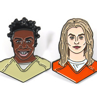 Orange Is The New Black Piper Chapman and Suzanne Crazy Eyes Soft Enamel Pin Pack