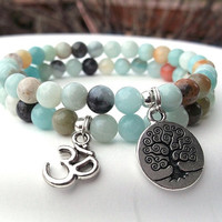 Amazonite Bracelet, Yoga Bracelet, Om Bracelet, Tree of Life, Yoga Jewelry, Calming Bracelet, Gemstone Bracelet