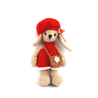 red bunny, crocheted bunny, stuffed beige rabbit with elegant red dress and hat, girl bunny, amigurumi bunny, Easter gift, toy for children