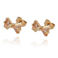 18K Gold Platinum Galvanized Austrian Zircon Earrings   yellow