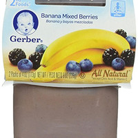 Gerber Purees 2nd Foods Banana Mixed Berries, 8 Ounce (Pack of 8)