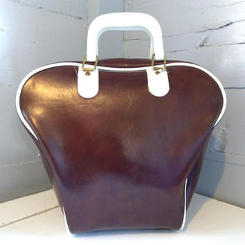 Vintage, Bowling Bag, Bowling Bag Purse, Brown, White, Vinyl, Retro, Bowling, Bowling Accessories, For Her, RhymeswithDaughter