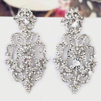 Royal Weddings Bridal Statement Chandelier Earrings Crystal Art Deco
