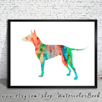Manchester terrier Watercolor Print, Archival Fine Art Print, Children's Wall Art, Home Decor, dog watercolor, watercolor painting, dog art,