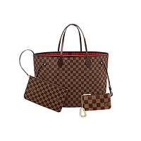 LV classic chessboard female shopping bag messenger bag three-piece