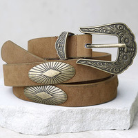 Down in the Valley Antiqued Gold and Tan Belt