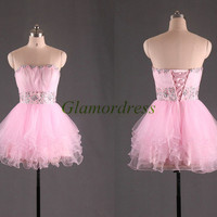 cheap cute cocktail dresses with bead crystal waist short pink strapless bridesmaid gowns unique tulle party gowns for girls