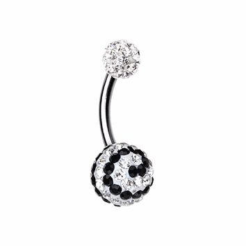 Dazzling Spiral Multi-Sprinkle Dot Belly Button Ring