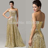 Vestido Longgo Long Sweetheart A-line Formal Prom Dress Gold Sequin Prom Dresses Crystal Beaded Evening Pageant Dresses 6103