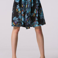 Knee-length Floral Printed Pleated Skirt