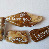 I love you Gift Pebble art, Beach Stones Art, Hand Painted Pebbles, Interior Decoration Nature Home decor Valentine gift, Collectible Stones