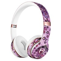 Floral Pattern on Purple Watercolor Full-Body Skin Kit for the Beats by Dre Solo 3 Wireless Headphones
