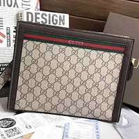 GUCCI New fashion more letter leather cosmetic bag file package handbag Khaki