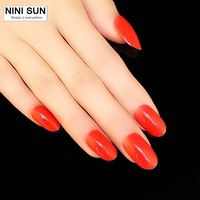 Single Color Red Acrylic Fake False Nail Tips Artificial Nails unghie finte Makeup Tools 24pcs/lot free glue Oval Head Nail DIY