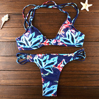 Womens Retro Floral Push Up Bikinis Set Summer Beach Party Swimsuit