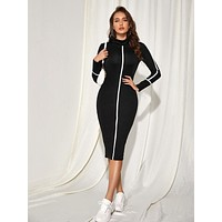 Mock Neck Contrast Piping Bodycon Dress
