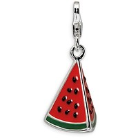 Sterling Silver 3-D Enameled Watermelon Wedge w/Lobster Clasp Charm QCC359